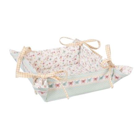 Brotkörbchen mit Schmetterlingen. Quadratisches Brotkörbchen, an den Ecken durch Schleifenbindung zusammengehalten