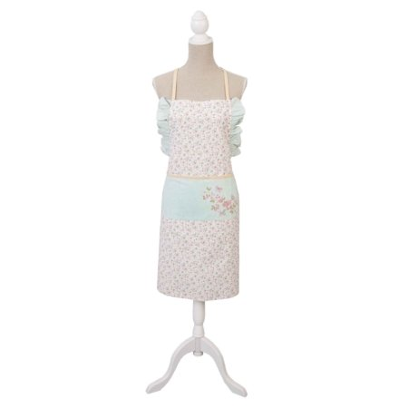 """Küchenschürze mit Schmetterlingen """"Fly like a butterfly"""". Diese Schürze ist mit Blumen und Schmetterlingen gemustert und in den Farben türkis, rosa, weiß gehalten."""